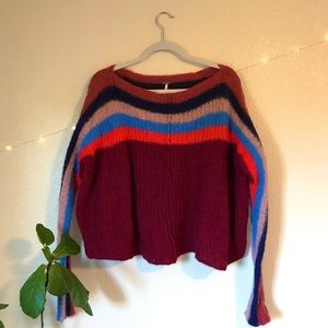 Free People Colorblock See The Rainbow Sweater MED